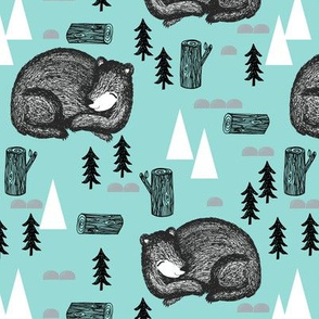 bear // sleeping bear mint kids outdoors adventurer boy boys nursery baby tree logs forest trees