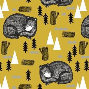 sleeping bear // hibernating sleep sleeping bear fir tree trees mountains outdoors adventurers kids nursery baby