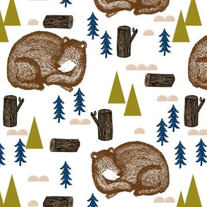 bear // sleeping bear hibernating forest woodland bear baby nursery baby boy bear cute animals fir tree forest tree logs bears