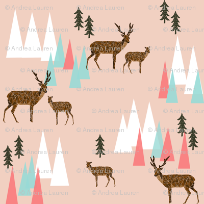 mountain deer // coral pink mint forest trees deer woodland creatures animals