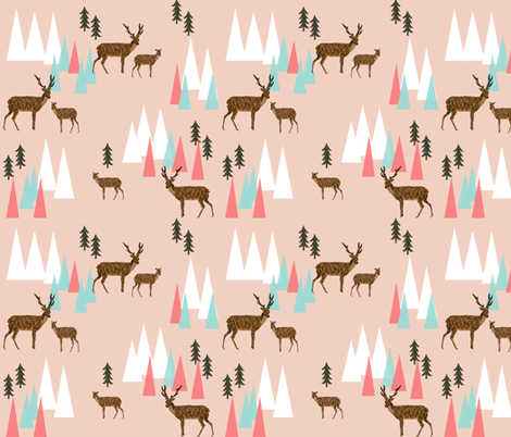 mountain deer // coral pink mint forest trees deer woodland creatures animals fabric by andrea_lauren on Spoonflower - custom fabric