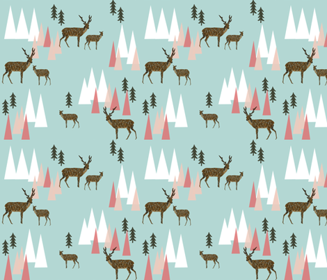 mountain deer // mint and pink triangles trees woodland geo deer cute forest woodland creatures fabric by andrea_lauren on Spoonflower - custom fabric