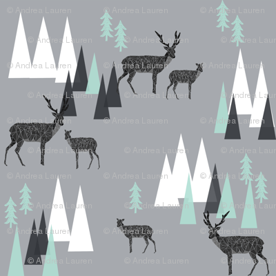 mountain deer // charcoal grey mint triangles kids outdoors camping forest woodland mountains triangles charcoal mint and grey