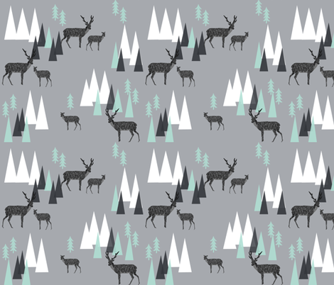mountain deer // charcoal grey mint triangles kids outdoors camping forest woodland mountains triangles charcoal mint and grey fabric by andrea_lauren on Spoonflower - custom fabric