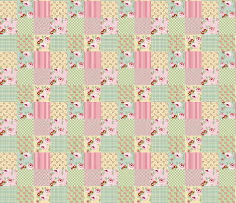 Faded_Rose_Cheater_Quilt fabric by lana_gordon_rast_ on Spoonflower - custom fabric