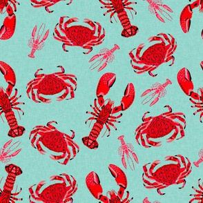 crab and lobsters // mint crabs ocean nautical preppy summer lilly summer crawfish crayfish fishing print