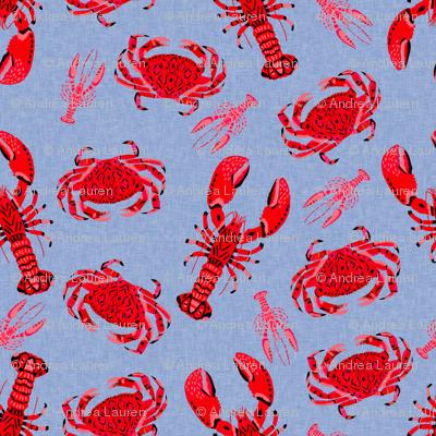 crab and lobster // periwinkle blue nautical ocean crawfish summer print