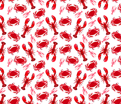 crab and lobster // white crabs lobsters nautical fish ocean sea red pink summer fishing fabric by andrea_lauren on Spoonflower - custom fabric