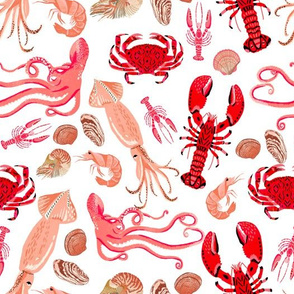 ocean // nautical summer ocean squid lobsters squid shells nautical summer preppy