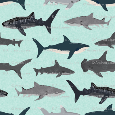 shark // sharks mint fish ocean sea nautical kids mint shark week