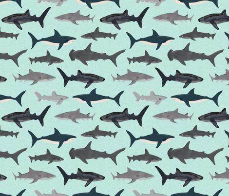 shark // sharks mint fish ocean sea nautical kids mint shark week fabric by andrea_lauren on Spoonflower - custom fabric