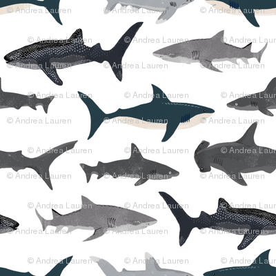 shark // sharks nautical boys white background kids ocean sea tiger shark hammerhead shark fabric