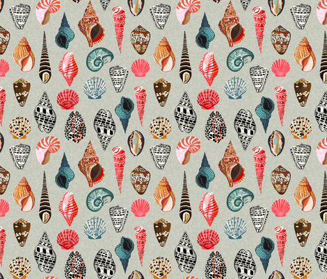 seashells // shells summer beach linen  fabric by andrea_lauren on Spoonflower - custom fabric