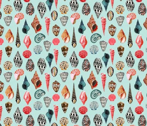 seashells // shell shells beach summer mint ocean water sea nautical shell  fabric by andrea_lauren on Spoonflower - custom fabric
