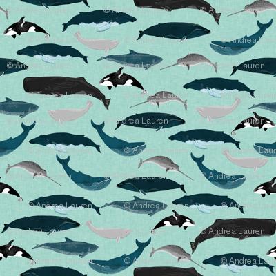 whales // whale ocean nautical mint summer creature nautical