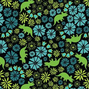 dinosaur flower black background