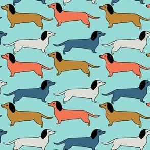 dachshunds // dogs dachshund wiener dog pastel boys kids men pet fabric blue orange mint