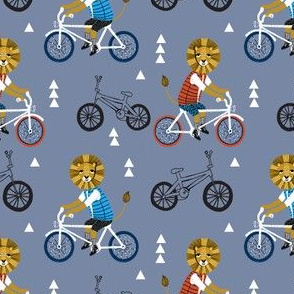 lion bicycle // boys lion on bicycle bike bicycle bmx bike cute boys blue fabric
