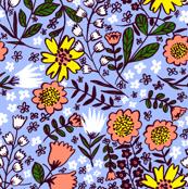 Amelia, pastel cornflower/coral