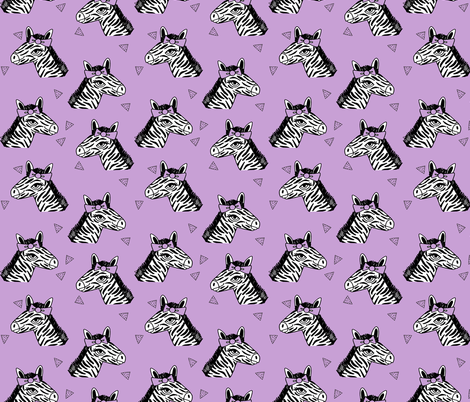 zebra // bow girls zebra with bow cute little girls pastel purple zoo safari animal print fabric by andrea_lauren on Spoonflower - custom fabric