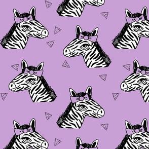 zebra // bow girls zebra with bow cute little girls pastel purple zoo safari animal print