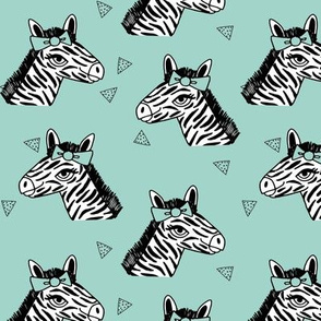 zebra // mint bow girls sweet zoo safari black and white happy zebra for girls
