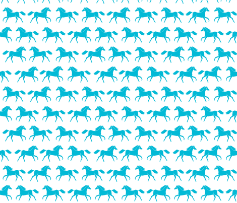 horses // turquoise white girls sweet pony horse fabric fabric by andrea_lauren on Spoonflower - custom fabric