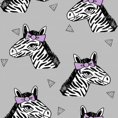 zebra // purple bow grey zoo safari africa girls sweet animal print