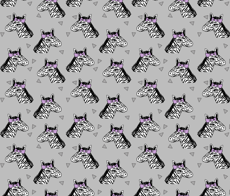 zebra // purple bow grey zoo safari africa girls sweet animal print fabric by andrea_lauren on Spoonflower - custom fabric