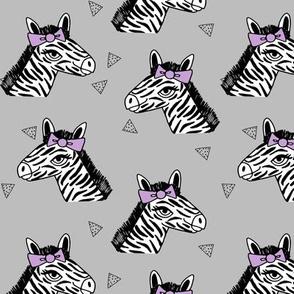 zebra // purple bow grey zoo safari africa girls sweet animal print