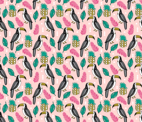 toucan // tropical summer monstera leaves pink pineapple tropical summer fabric by andrea_lauren on Spoonflower - custom fabric