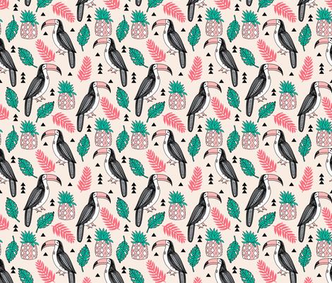 toucan // tropical birds tropical tropics birds toucans pineapple palm print fabric by andrea_lauren on Spoonflower - custom fabric