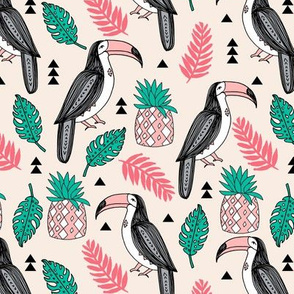 toucan // tropical birds tropical tropics birds toucans pineapple palm print