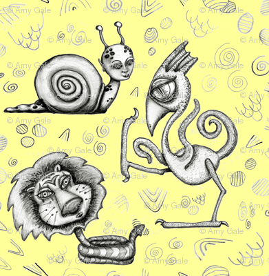 #SFDesignADay pencil drawing, Creature Feature, small scale, yellow gray black