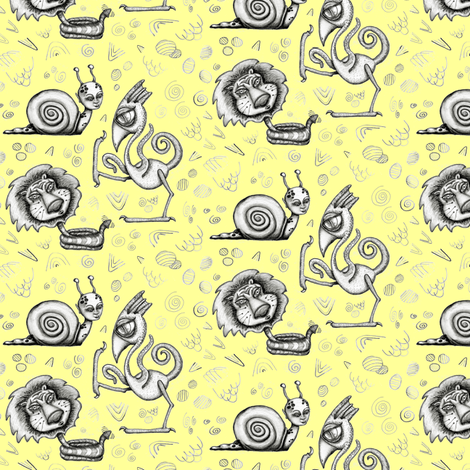#SFDesignADay pencil drawing, Creature Feature, small scale, yellow gray black fabric by amy_g on Spoonflower - custom fabric