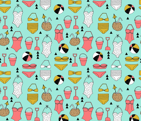 beach // summer swim suit bathing suit swimming bikini cute girls beach ball fabric by andrea_lauren on Spoonflower - custom fabric