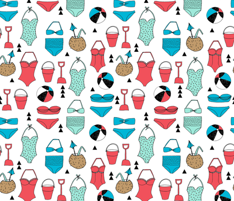 beach // vacay summer ocean coconut swimsuit swimming ocean  fabric by andrea_lauren on Spoonflower - custom fabric