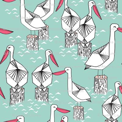 pelican // pelicans birds nautical mint ocean sea