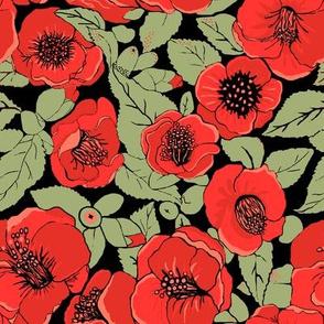 Red  Floral ,  Summer flower garden