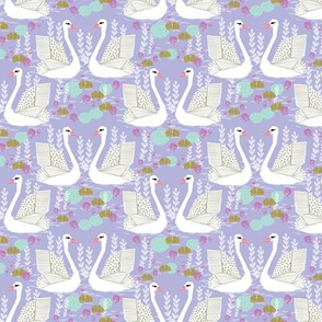 swan lake // purple pastel lilac lavender purple mint girls sweet swans
