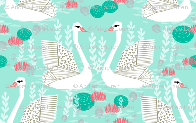 swan lake // swans mint pink coral grey spring girls pond lake