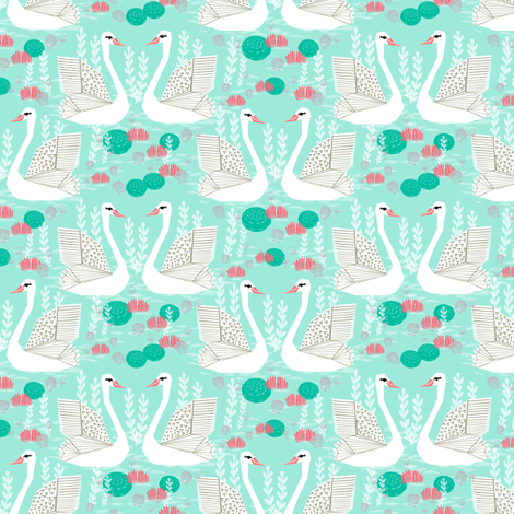 swan lake // swans mint pink coral grey spring girls pond lake fabric by andrea_lauren on Spoonflower - custom fabric