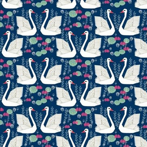 swan lake // navy blue swans girls flowers sweet little white swans