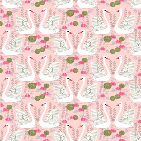 swan lake // pond swan swans birds bird sweet little swans fabric by andrea_lauren on Spoonflower - custom fabric
