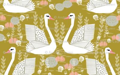 swan fabric // mustard olive yellow swans birds pastel girls sweet bird swan print