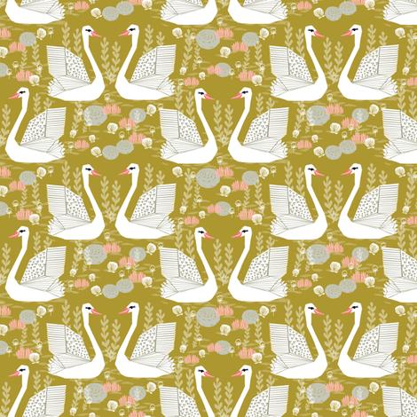 swan fabric // mustard olive yellow swans birds pastel girls sweet bird swan print fabric by andrea_lauren on Spoonflower - custom fabric