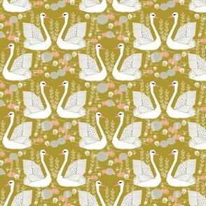 swan lake // mustard olive yellow swans birds pastel girls sweet bird swan print
