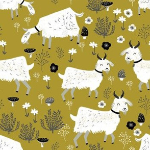 goats // golden olive mustard farm animal kids cute goat fabric
