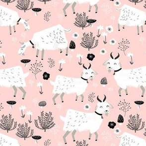 goats // baby girl cute farm animal print for baby girl nursery
