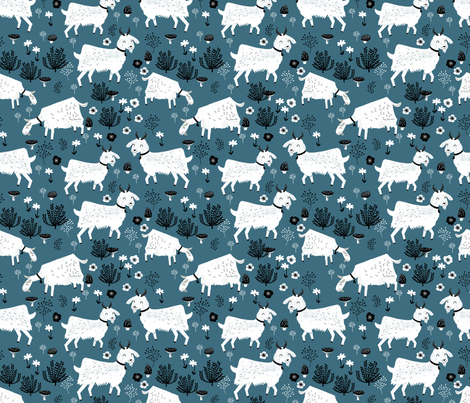 goats // farm animal blue farm cute animals baby boy kids fabric by andrea_lauren on Spoonflower - custom fabric
